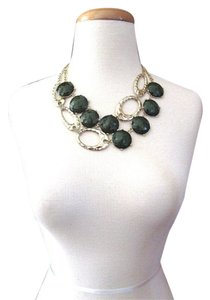 Studio La Touche 2 Strand Forest Green & Gold Statement Necklace