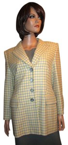 Escada 100% Cashmere Yellow Gray Cream Blazer