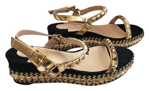 Christian Louboutin $795 Nib Sz 38 Cataclou 60 Embellished Suede Leather Wedge Sandals Espadrilles Cataclou Wedge Sandals Sandals Wedge Black/gold Platforms