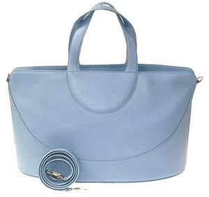 BVLGARI Light Silver Leather Detachable Strap Tote in Blue