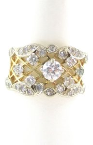WEDDING RING BAND 22 DIAMOND 14KT SOLID KARAT YELLOW GOLD ENGAGEMENT ANTIQUE