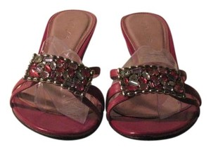 Unisa Fuschia Leather Kitten Heels with Bling Sandals