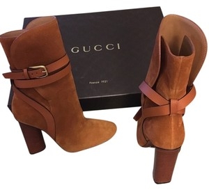 Gucci Abigail Suede Over Ankle Strappy Buckle Heels Brown Boots