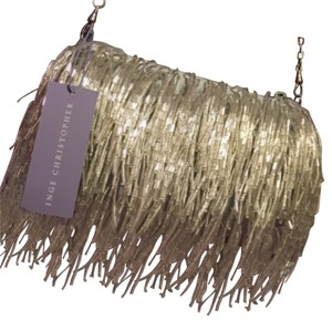 Inge Christopher Silver Beaded Fringe Zippered Satin Clutch