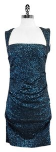 Nicole Miller short dress Teal Sequin Cap Sleeve on Tradesy