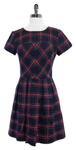 Shoshanna short dress Navy Red Print Tweed Short Sleeve on Tradesy