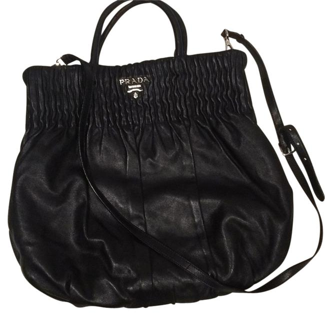 Item - Tess.+spazzolat Bn 1057 Black with Silver Hardware Leather Satchel