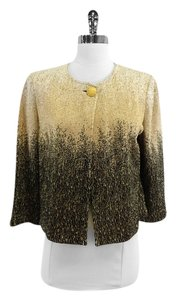 St. John Gold Black Metallic Knit Knit Jacket
