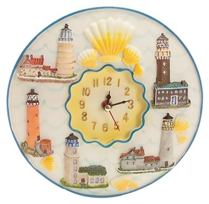 Light House Wall Clock 8 inches, Brand New, Raised Lighthouses and Sea Shells.
