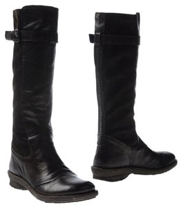 Khrio Leather Strap Detailing Rubber Sole black Boots