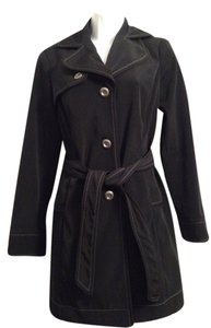 Merona Trench Coat Lined Black and white Jacket