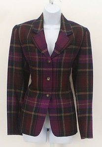 Ellen Tracy Ellen Tracy 46 Purple Magenta Burgundy Plaid Wool Three Button Suit B241