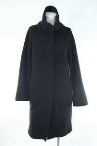 Eileen Fisher Petite Fine Boucle High Collar Long Coat Ps Black Jacket