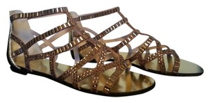 Vince Camuto Metallic Summer Spring Gladiator Mirrored Leather French beige/ gold Sandals
