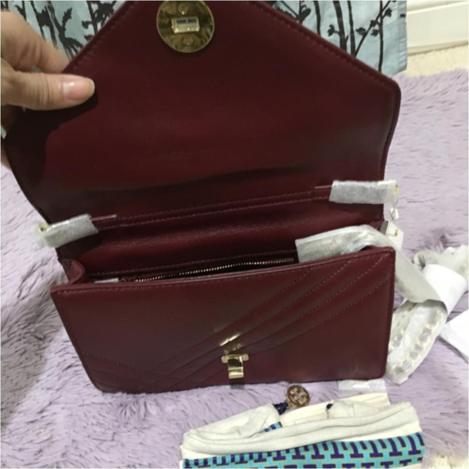 b95f0e086cd6 Tory Burch Kira Quilted Gold Removable Strap Chain Burgundy Agate Red  Leather Clutch - Tradesy