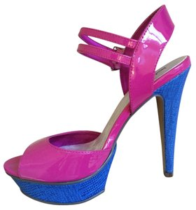 Michael Antonio Hot Pink & Royal Blue Platforms