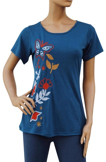 Preload https://item1.tradesy.com/images/blue-butterfly-and-flower-embroidered-top-stretch-fit-tee-shirt-size-14-l-96685-0-2.jpg?width=400&height=650