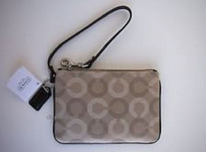 Coach Patterned Sateen Universal Wristlet in khaki and mahogany