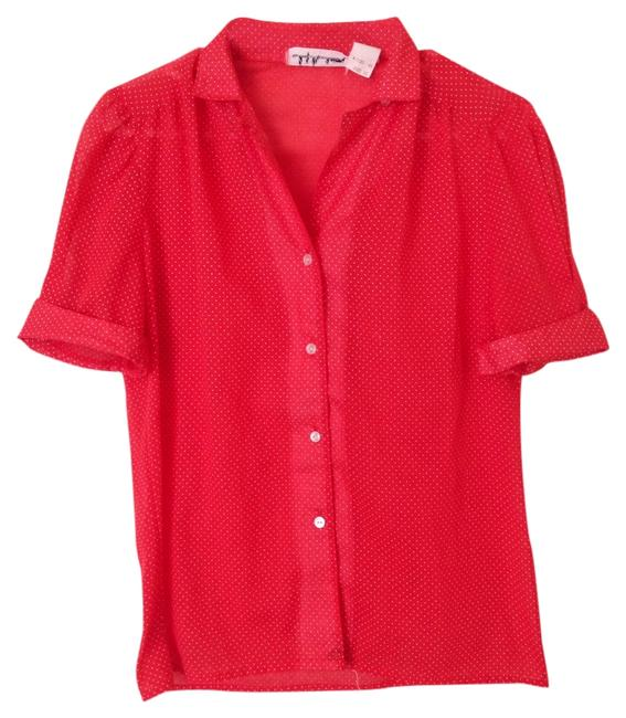 Lady Manhattan Button Down Shirt Red/White