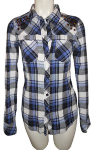 Fox Studded Cotton Button Down Shirt black, blue & white plaid