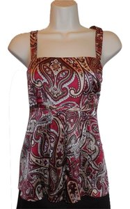 INC International Concepts Petite 12 12p Paisley Silk Sleeveless Brown Burgundy Empire Waist Top Multi Colored