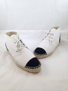 Chanel Espadrilles High Tops White Leather Designer Accessories White/black Flats