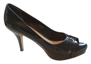 Via Spiga Patent Leather Platform Criss Cross Open Toe Black Pumps