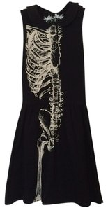 Iron Fist short dress Black and White Skeleton Goth Rocker Punk Peter Pan Collar Buttoned Buttons Button on Tradesy