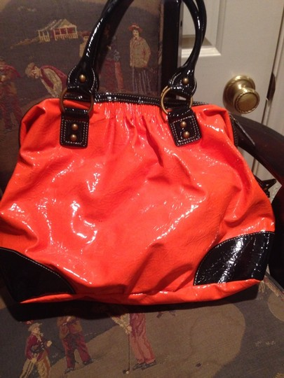 French Connection Satchel in Tangerine/ Black