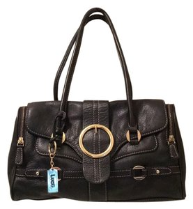 C. Luce Leather Pockets Soft Leather Gold Hardware Dr Satchel in Black