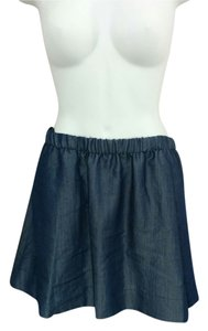QMack Elastic Waist Medium A-line Mini Skirt Blue