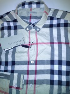Burberry Camel Brit Check Mens Long Sleeve Button Front Size M Shirt