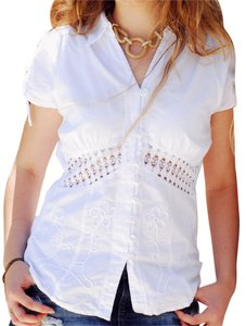 Lirome Crochet Embroidered Top White
