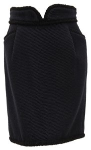 Zac Posen Mini Pockets Notched Wool Virgin Wool Mini Skirt Navy, Black