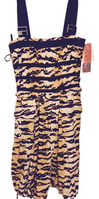 Item - Beige Yellow Brown Black Printed Smocked Short Night Out Dress Size 6 (S)