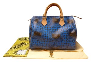 Louis Vuitton Made In France Limited Edition Yayoi Kusama Monogram Speedy 30  Satchel in Blue ec0e636f96