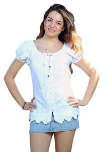 Lirome Summer Embroidery Top White