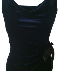 Taylor Velvet Dark Blue Stretch Gathered Velvet Dress