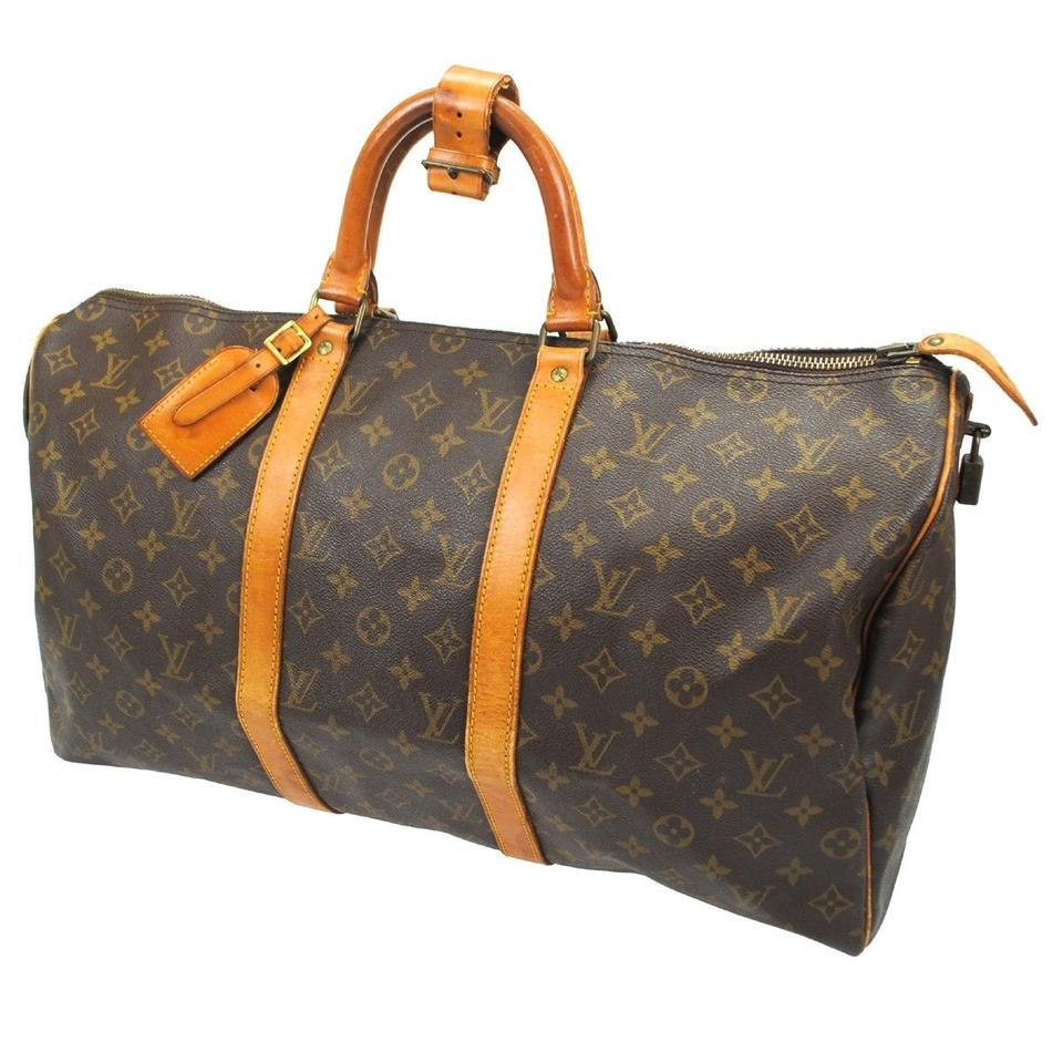 louis vuitton keepall 50 brown louis vuitton weekend travel bags tradesy. Black Bedroom Furniture Sets. Home Design Ideas