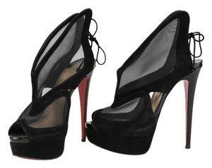 Christian Louboutin Suede Patent Booties Black Platforms