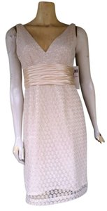 Maggy London Lace Tie Backs Silk Sash Ruched Metallic Dress