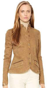 Ralph Lauren Denim Brown Leather Isle Tan Womens Jean Jacket