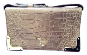 Prada Crocodile Limited Edition Gold Clutch