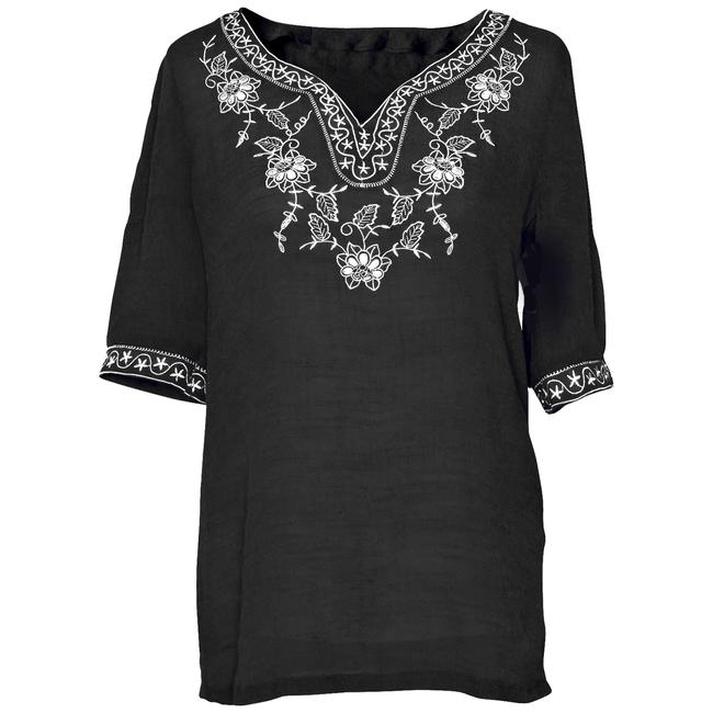 Preload https://item1.tradesy.com/images/black-embroidered-tunic-with-floral-and-stars-design-collar-blouse-size-10-m-96790-0-1.jpg?width=400&height=650