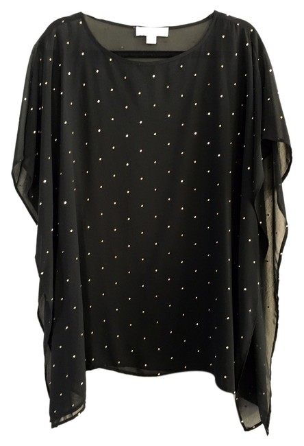 Item - Black and Gold Sheer Embellished Flowy Cover-up Glamorous Mini Short Casual Dress Size 6 (S)