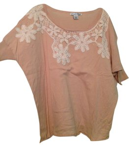 RXB Dolman Sleeve Crochet Jewel Top Tan