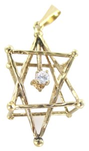 10K YELLOW GOLD STAR OF DAVID 1 DIAMOND 3D SACRED GEOMETRY MERKABA PENDANT JEWEL