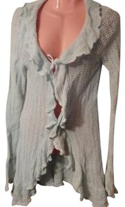 Mary Kate and Ashley Tight Knit 55% Ramie Frilly Cardigan