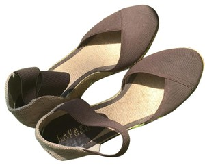 Ralph lauren canvas covered toe sandal sz9b copper Wedges