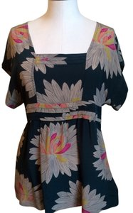 Odille Top Hunter green w Floral print